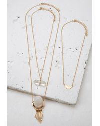 Forever 21 - Metallic Faux Gemstone Necklace Set - Lyst