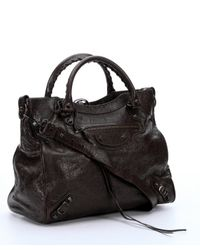 Balenciaga - Black Charbon Lambskin 'Classic Town' Convertible Tote Bag - Lyst