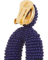 Oscar de la Renta | Blue Oscar O Gold-Tone Beaded Clip Earrings | Lyst