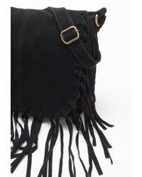 Forever 21 - Black Fringed Suede Messenger Bag - Lyst