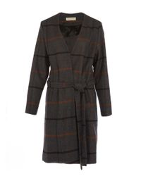 Libertine-Libertine - Gray Dark Grey Striped Again Tie Waist Collarless Coat - Lyst