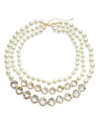Catherine Stein | White Faux Pearl And Crystal Row Necklace | Lyst