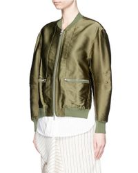 3.1 Phillip Lim - Brown 'tromp L'oeil' Shirt Underlay Satin Bomber Jacket - Lyst