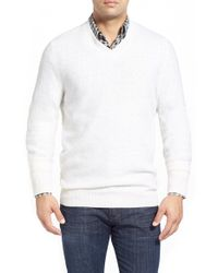 Billy Reid | Natural Waffle Knit V-neck Sweater for Men | Lyst