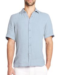 Saks Fifth Avenue - Blue Linen Sportshirt for Men - Lyst