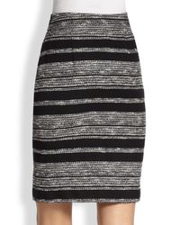 L'Agence - Black Tribal Stripe Wrap Skirt - Lyst