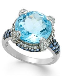 Macy's - Blue Topaz (7-1/2 Ct. T.w.) And Swarovski Zirconia Accent Ring In Sterling Silver - Lyst