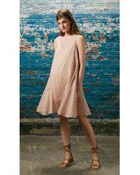 Tibi - Pink Windowpane Jacquard Drop Waist Dress - Lyst