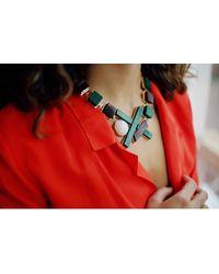 Eshvi - Multicolor Back To School Malachite Necklace - Lyst