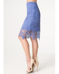 Bebe | Blue Jade Bobbin Lace Skirt | Lyst