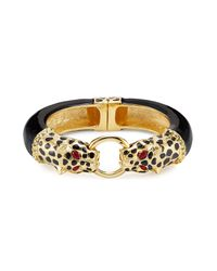 Kenneth Jay Lane | Metallic Gold-plated Resin Leopard Bracelet | Lyst