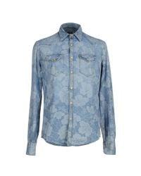 Aglini | Blue Denim Shirt for Men | Lyst