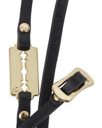 McQ | Black Razor Embellished Leather Wrap Bracelet for Men | Lyst