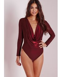 Missguided - Purple Slinky Low Neck Bodysuit Burgundy - Lyst