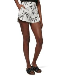 TOPSHOP - White Leaf-Print Runner Crepe Shorts - Lyst
