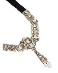 Erickson Beamon - Metallic 'temptress' Crystal Fringe Ribbon Necklace - Lyst