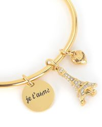 Juicy Couture | Metallic Pave Eiffel Tower Slider Bangle Bracelet | Lyst