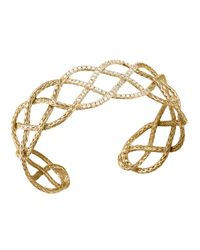 John Hardy | Metallic Classic Chain 18k Gold & Diamond Braided Cuff | Lyst
