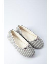 Forever 21 | Gray Stripe Slippers | Lyst