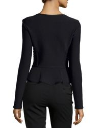 Hervé Léger - Black Ruffle-Front Fitted Jacket - Lyst