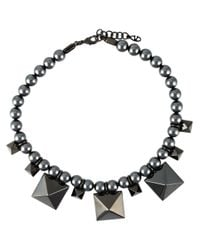 Valentino - Gray Pearls Necklace - Lyst