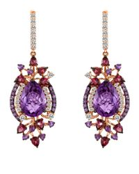 Le Vian | Purple Amethyst And 14k Strawberry Gold Drop Earrings | Lyst