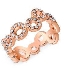 T Tahari | Metallic Rose Gold-tone Crystal Squiggle Circle Ring | Lyst