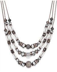 INC International Concepts | Metallic Chocolate-tone Beaded Three-row Necklace | Lyst