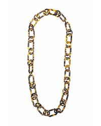 TOPSHOP | Brown Tortoiseshell Link Necklace | Lyst