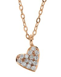 Lord & Taylor | Pink 14kt. Rose Gold And Diamond Heart Pendant Necklace | Lyst