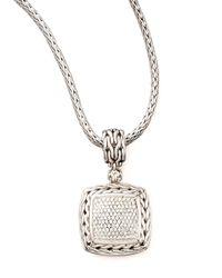 John Hardy | Metallic Square Pave Diamond Pendant | Lyst