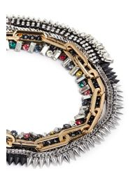 Venna | Metallic Crystal Chain Spike Necklace | Lyst