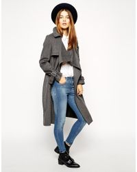 ASOS - Black Coat With Waterfall Front In Brushed Wool - Lyst