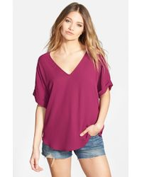 Lush - Pink Cuff Sleeve Woven Tee - Lyst