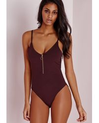 Missguided | Purple Ribbed Ring Pull Detail Bodysuit Aubergine | Lyst