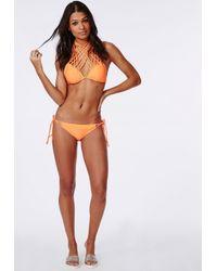 Missguided - Orange Durrah Neon Coral Lattice Strap Bikini - Lyst
