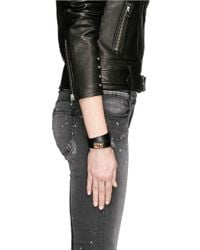 Givenchy - Black Shark Tooth Double Wrap Leather Bracelet - Lyst