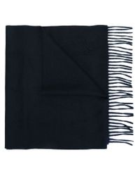 Canali - Blue Embroidered Logo Scarf for Men - Lyst