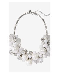 Express - White Pearl and Metal Bauble Necklace - Lyst