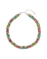 TOPSHOP - Multicolor Multi Bead Rope Collar - Lyst