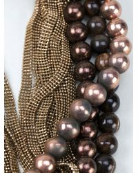 Brunello Cucinelli | Metallic Multi Strand Choker | Lyst