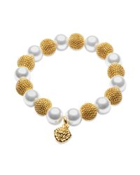 Anne Klein | Metallic Goldtone and Glass Pearl Stretch Bracelet | Lyst