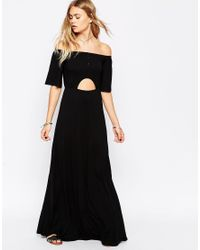 ASOS | Black Maxi Dress With Off Shoulder And Cut Out Waist | Lyst
