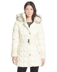 Betsey Johnson | White Faux Fur Trim Belted Puffer Coat | Lyst