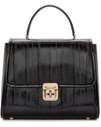Dolce & Gabbana | Black Eel Skin Medium Top Handle Bag | Lyst