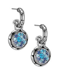 John Hardy | Blue Kali Small Round Hoop Drop Earrings | Lyst