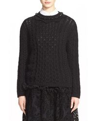 Simone Rocha - Black Cable Knit Sweater With Jeweled Neckline - Lyst