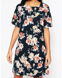 Girls On Film - Multicolor Shift Dress In Rose Print - Lyst