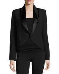 Halston - Black Long-sleeve Fitted Jacket - Lyst