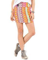 Volcom - Orange 'main Squeeze' Stripe Skirt - Lyst